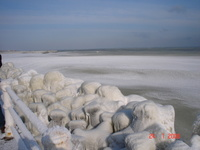 Frozen Black Sea in 2006, Constanta, Romania