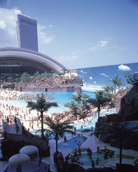 Japan's artificial beach roof retracted 1
