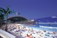 Japan's artificial beach roof retracted 2