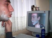 Shaving in front of a webcam