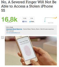 No, A Severed Finger will not be able to access a stolen iPhone 5s