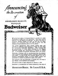1919 - Budweiser ad, announcing their reformulation of Budweiser as required under the Act, ready for sale by 1920
