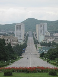 North Korea Wonder - Straight and Wide Street with Two Dead Ends
