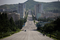 North Korea Wonder - Straight and Wide Street with Two Dead Ends - Better View