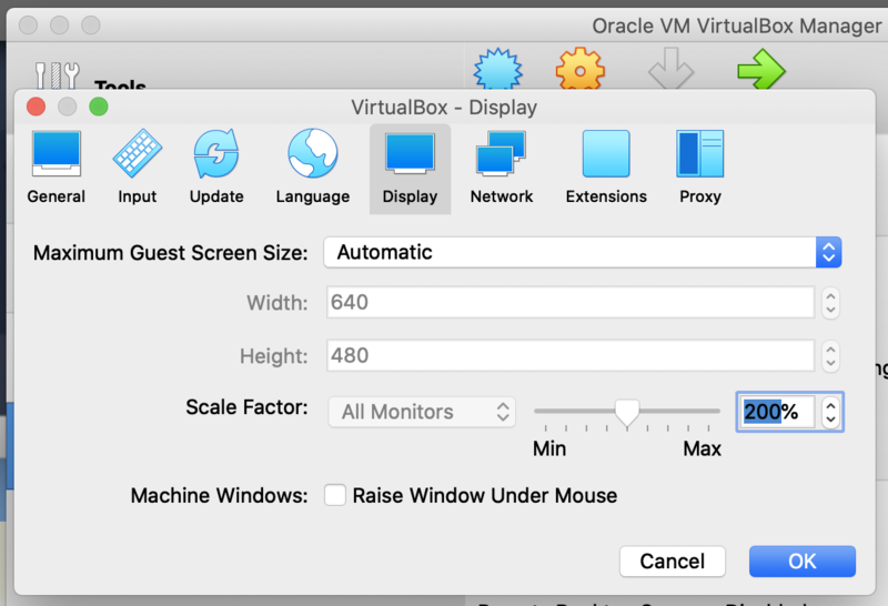 VirtualBox Manager Change Scale Factor