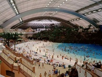 Japan's artificial beach interior with closed roof
