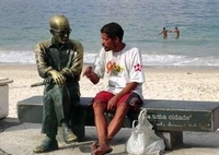 Sometimes, talking to a statue is better than talking alone!