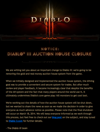 Diablo III - Auction House Closure Notice
