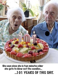 101 Years Old Twins blowing the candles