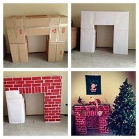 Christmas Fireplace from cardboard boxes