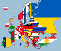European nations according to second largest nationality within them