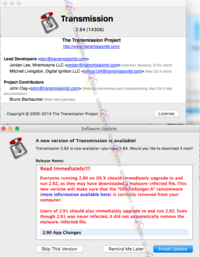 Transmission 2.90 with ransomware OSX.KeRanger.A
