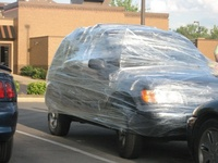 Saran wrapped car 01